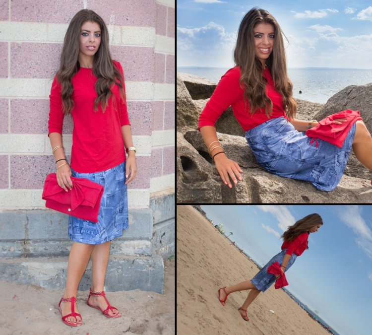 Denim-Skirt-At-the-Beach